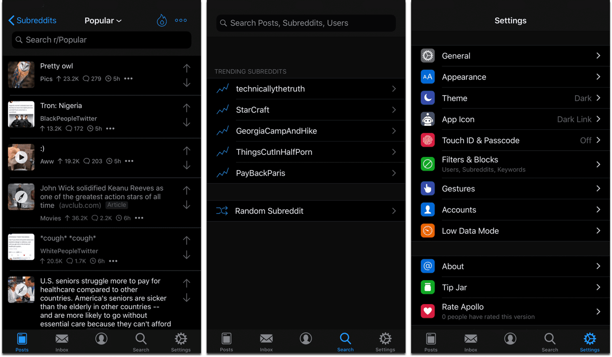 Screenshots of Apollo, one of the dark mode apps.