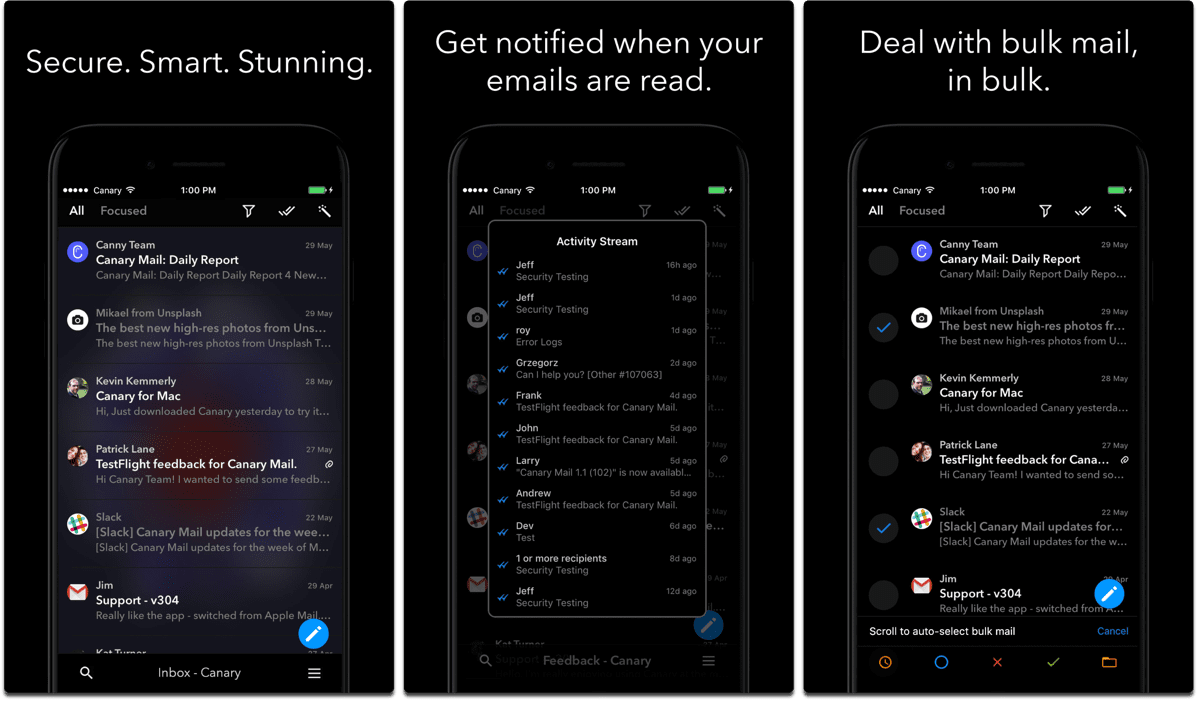 Screenshots of Canary Mail, one of the dark mode apps.