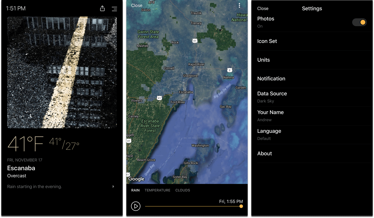 Screenshots of Today Weather, one of the dark mode apps.