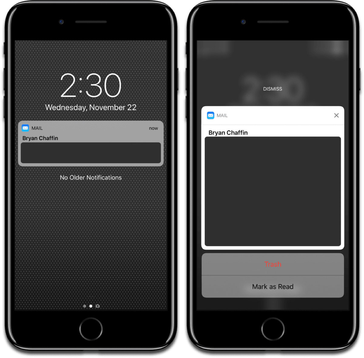 Dismiss notifications by swiping down when you 3D Touch.