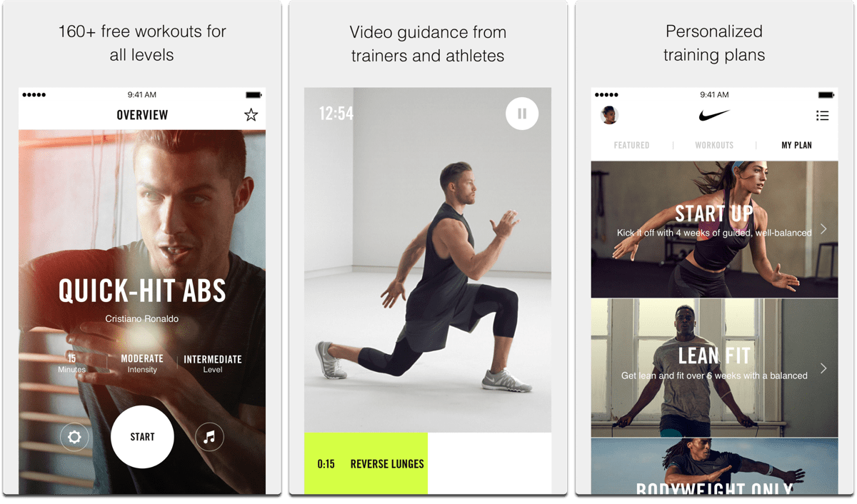 Nike Training Club, one of the fitness apps.