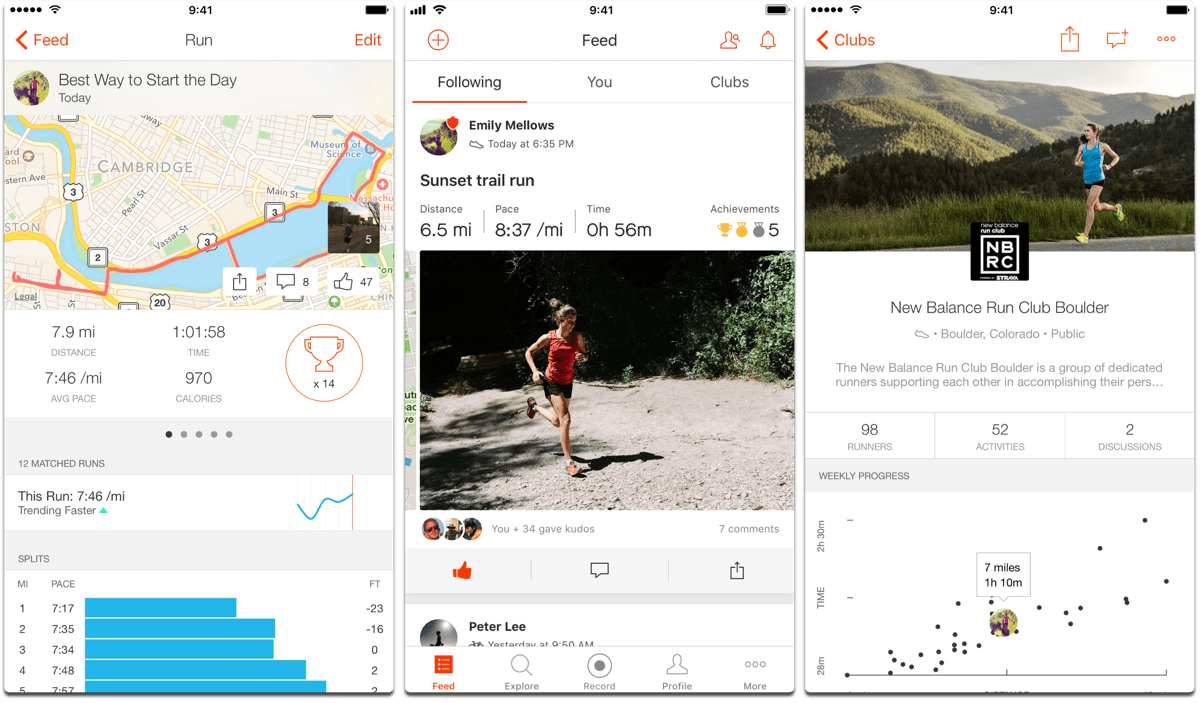 Strava running and cycling, one of the fitness apps.