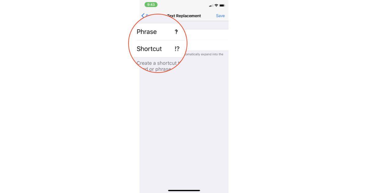 Interrobang symbol in iPhone Text Replacement feature