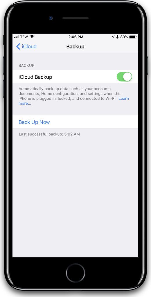 Turn off iCloud Backups for iPhone privacy.