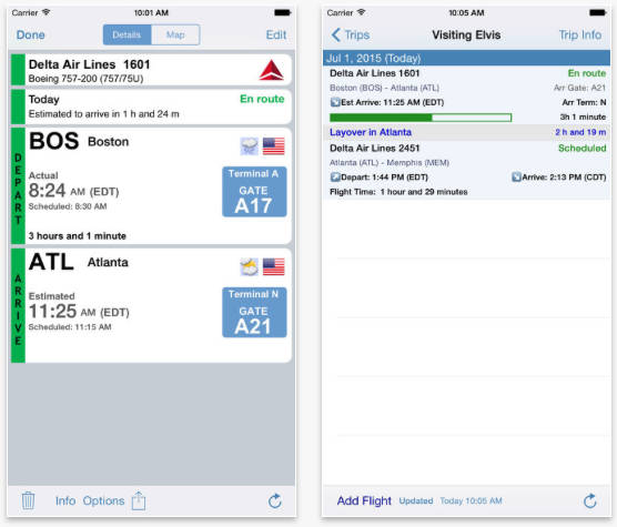 Flight Update Pro on the iPhone