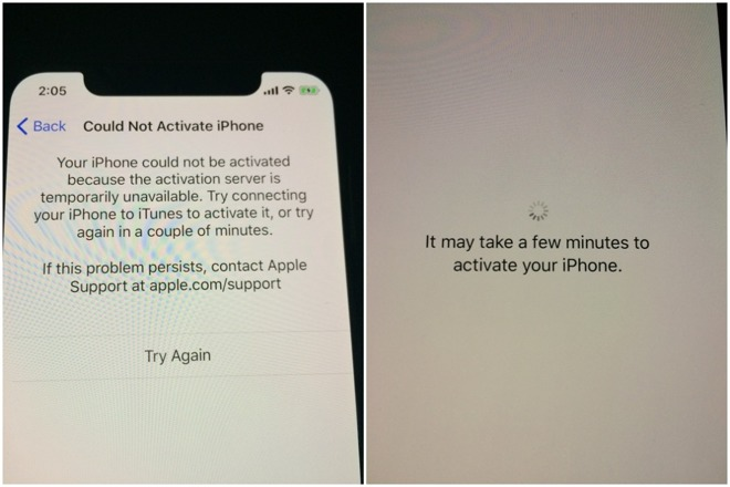 Error message for iPhone X activation issues.