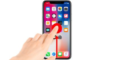 iPhone X App Switcher gesture: Swipe up from the bottom of the screen and pause