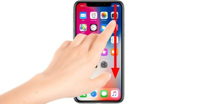iPhone X Control Center gesture: swipe down from the right horn