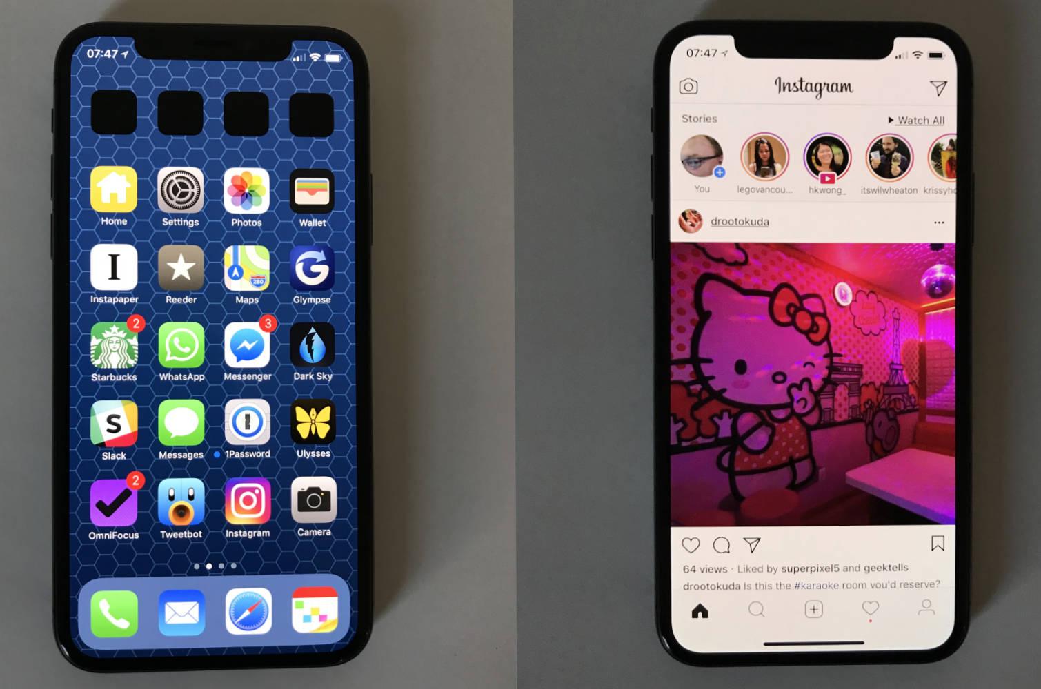 iPhone X Home screen notch