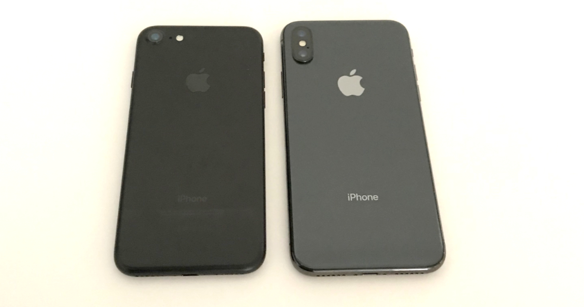iPhone 7 and iPhone X back view