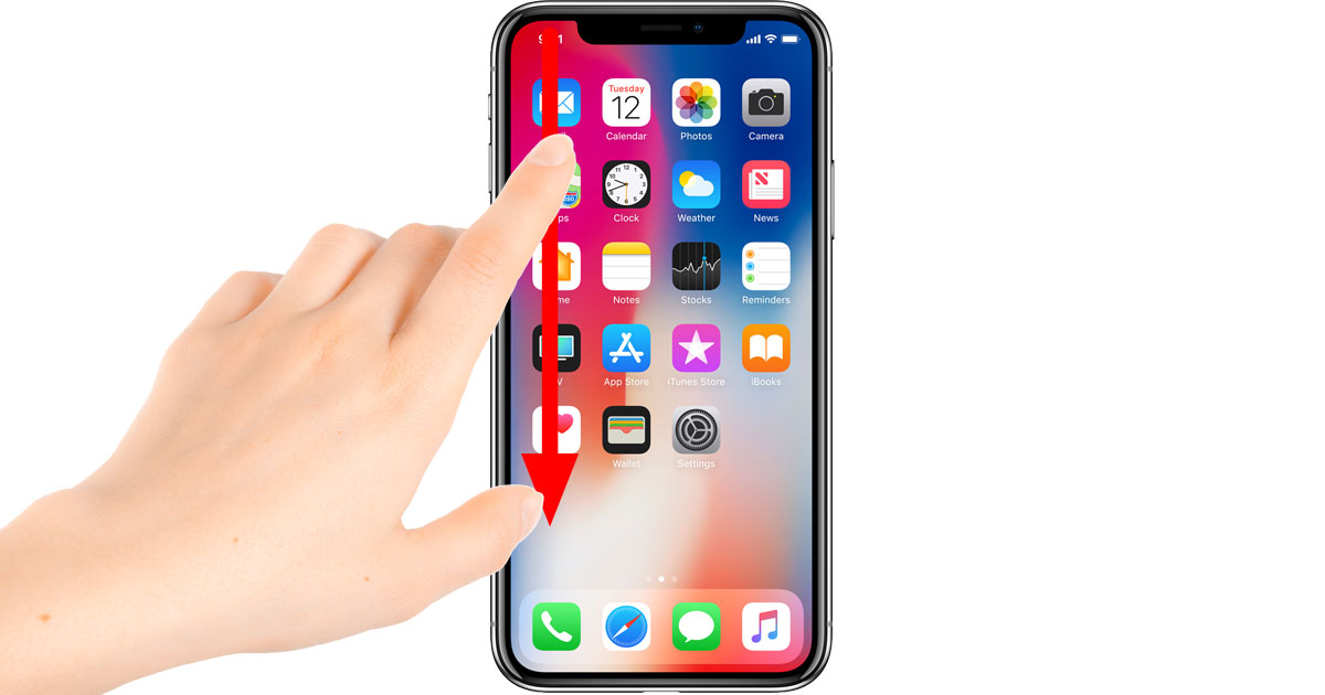 iPhone X Notification Center gesture - swipe down from the left horn