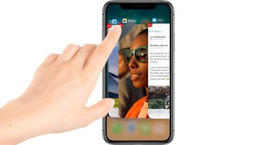 iPhone X quit apps in App Switcher by pressing and holding on an app and then tap the quit button