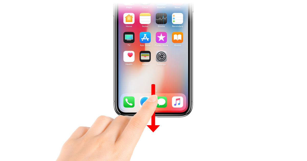 iPhone X Reachability gesture - swipe down from the bottom of the screen