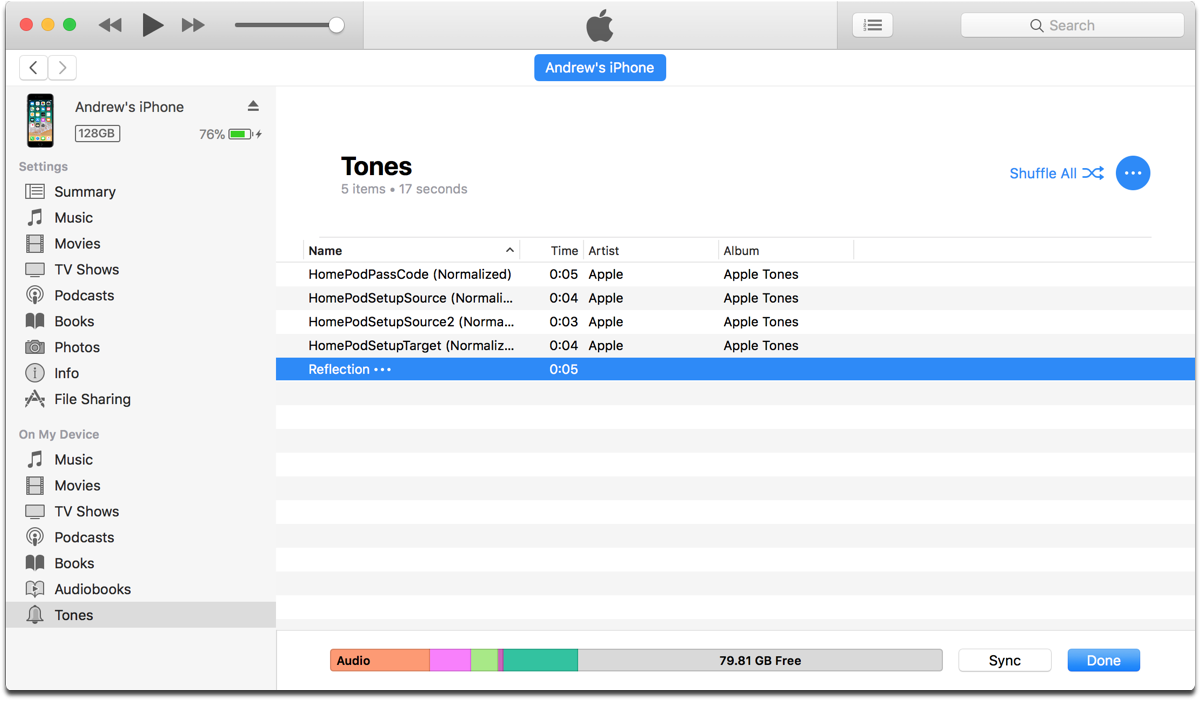 Finding the iPhone X ringtone in iTunes.