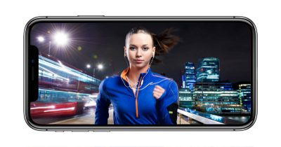 iPhone X with girl running