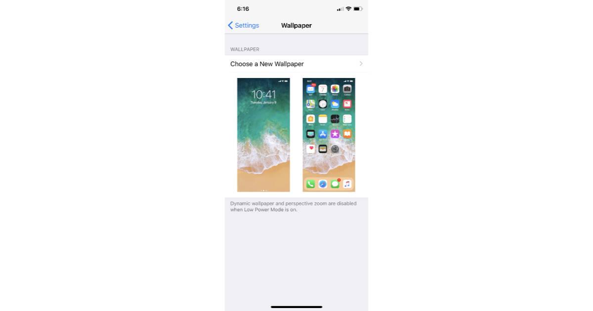iPhone X Wallpaper settings