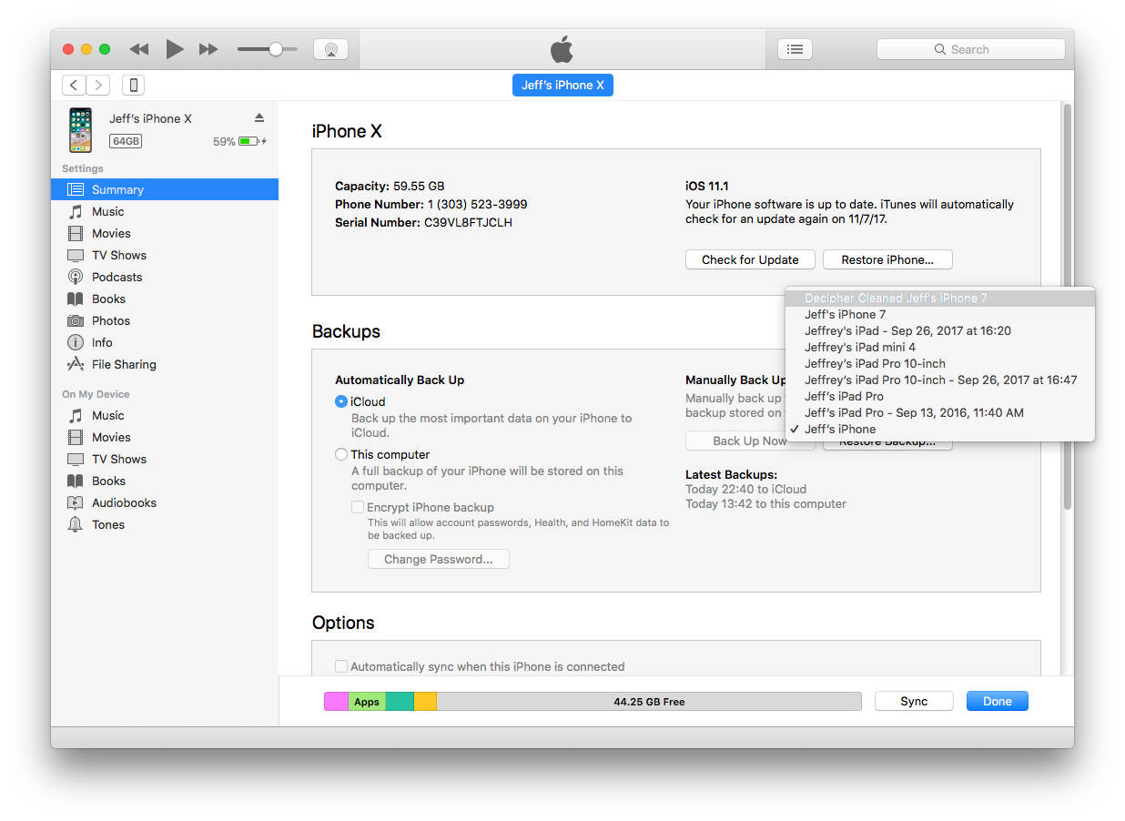 Decipher Activity Transfer makes a customized backup with your health data for your new iPhone