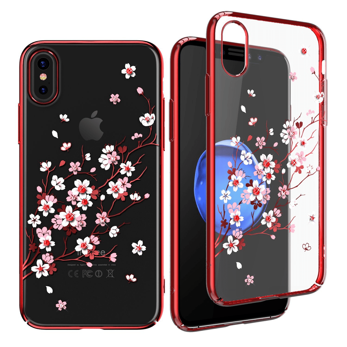 Kingxbar cherry blossom iPhone X bling cases.