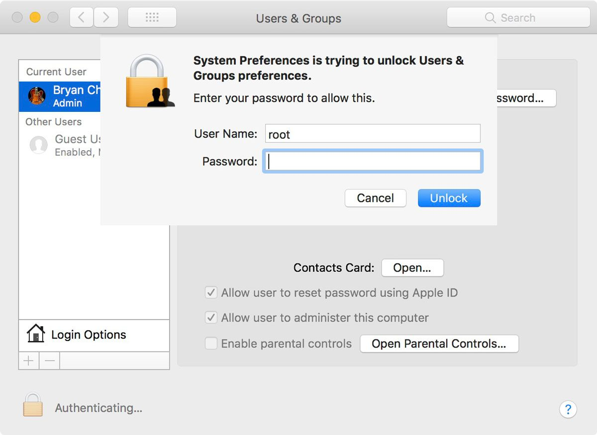 System Preferences > Users & Groups as Root