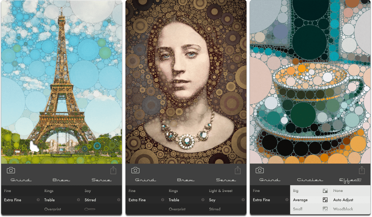 Screenshots of Percolator, one of the photo art apps.
