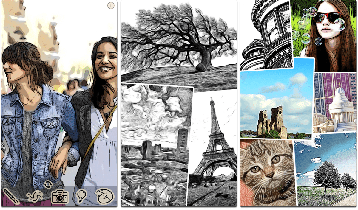 Screenshots of ToonCamera, one of the photo art apps.