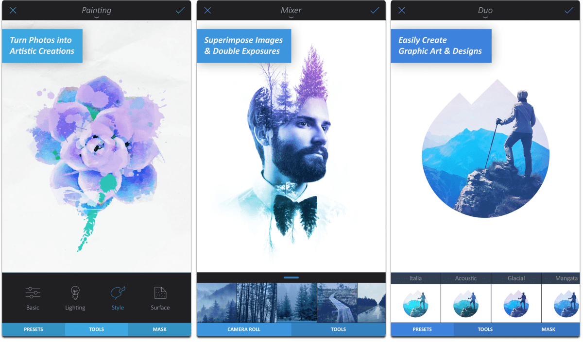 Screenshots of Enlight, one of the photo retouching apps.