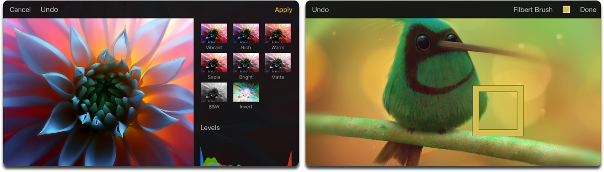 Screenshots of Pixelmator, one of the photo retouching apps. It also works as composite image apps.
