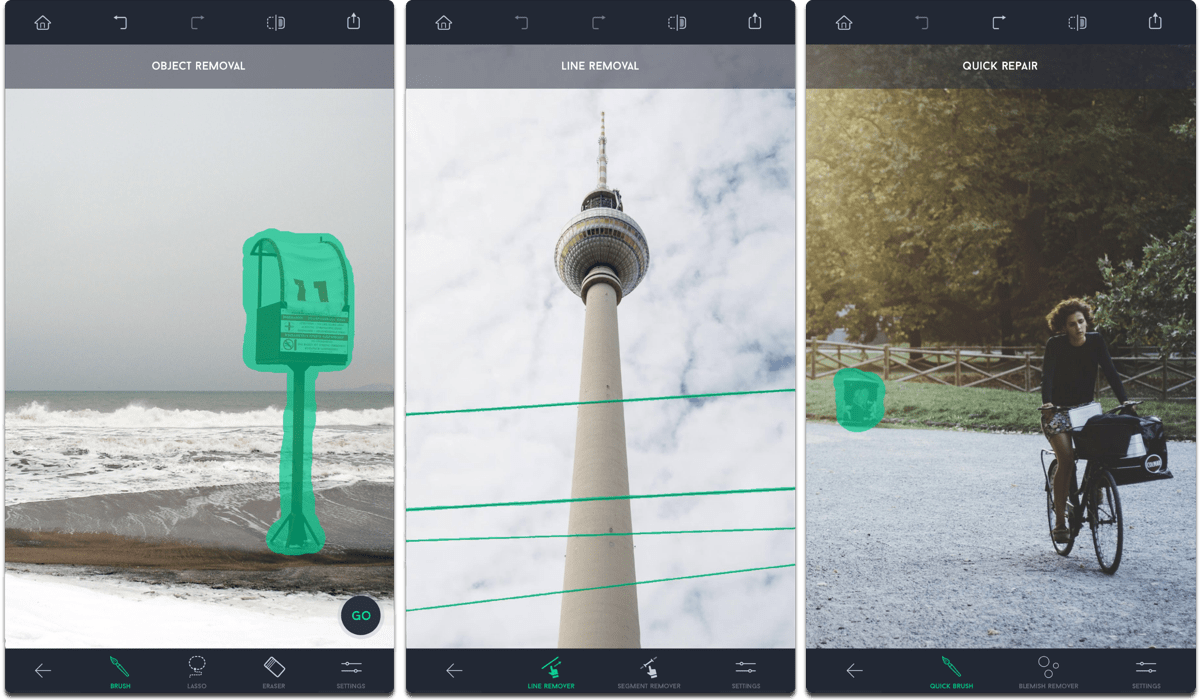 Screenshots of TouchRetouch, one of the photo retouching apps.