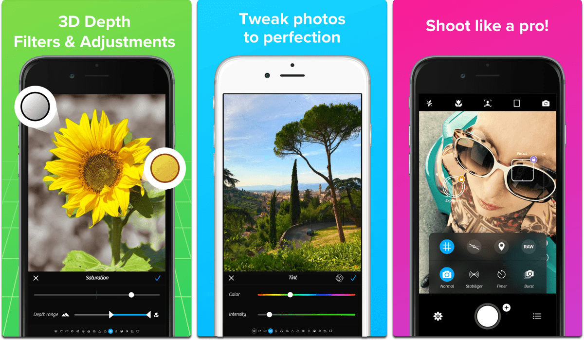 Screenshots of Camera Plus, which lets you apply Portrait Mode bokeh effects.