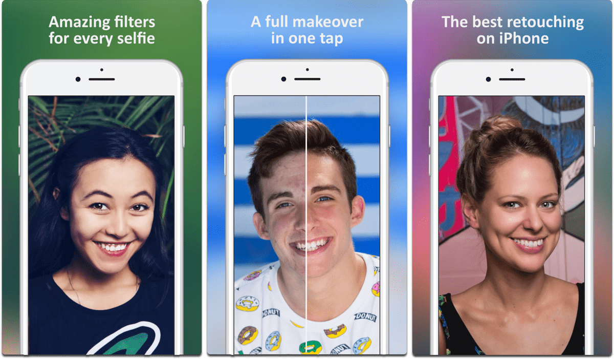 Screenshots of Facetune 2, an editing app that includes Portrait Mode bokeh effects.