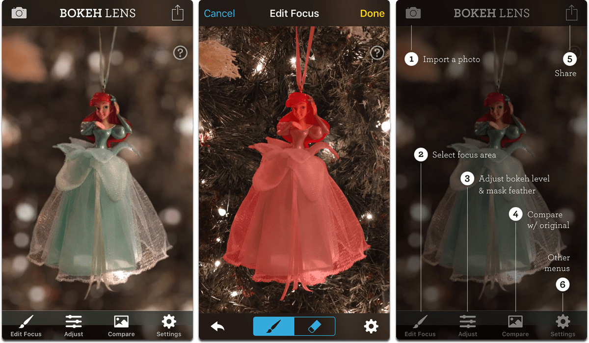 Screenshots of Bokeh Lens, an app that gives you Portrait Mode bokeh.