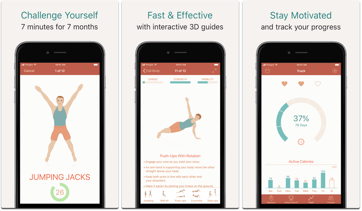Seven minute workout, one of the fitness apps.