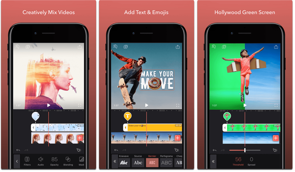 Screenshots of Enlight Videoleap, one of the video editing apps.