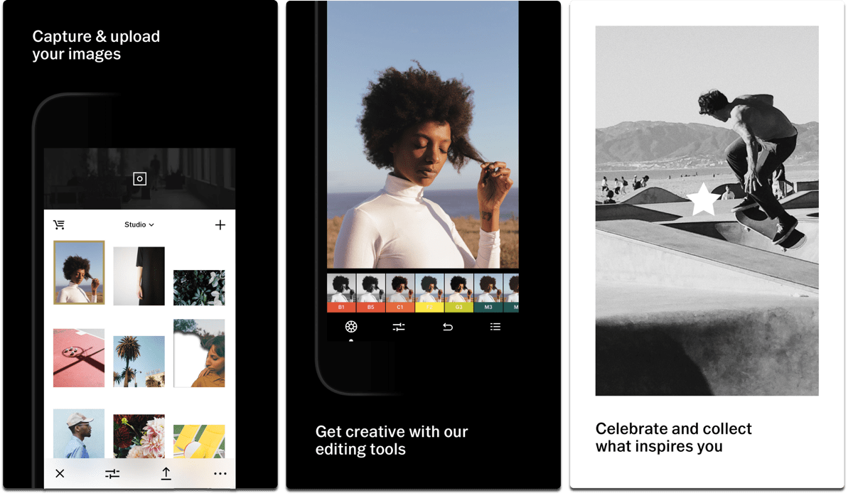 Screenshots of VSCO, one of the video editing apps.