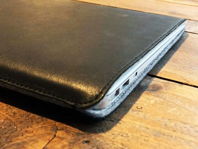 Woolnut Leather Sleeve with a MacBook Air inside