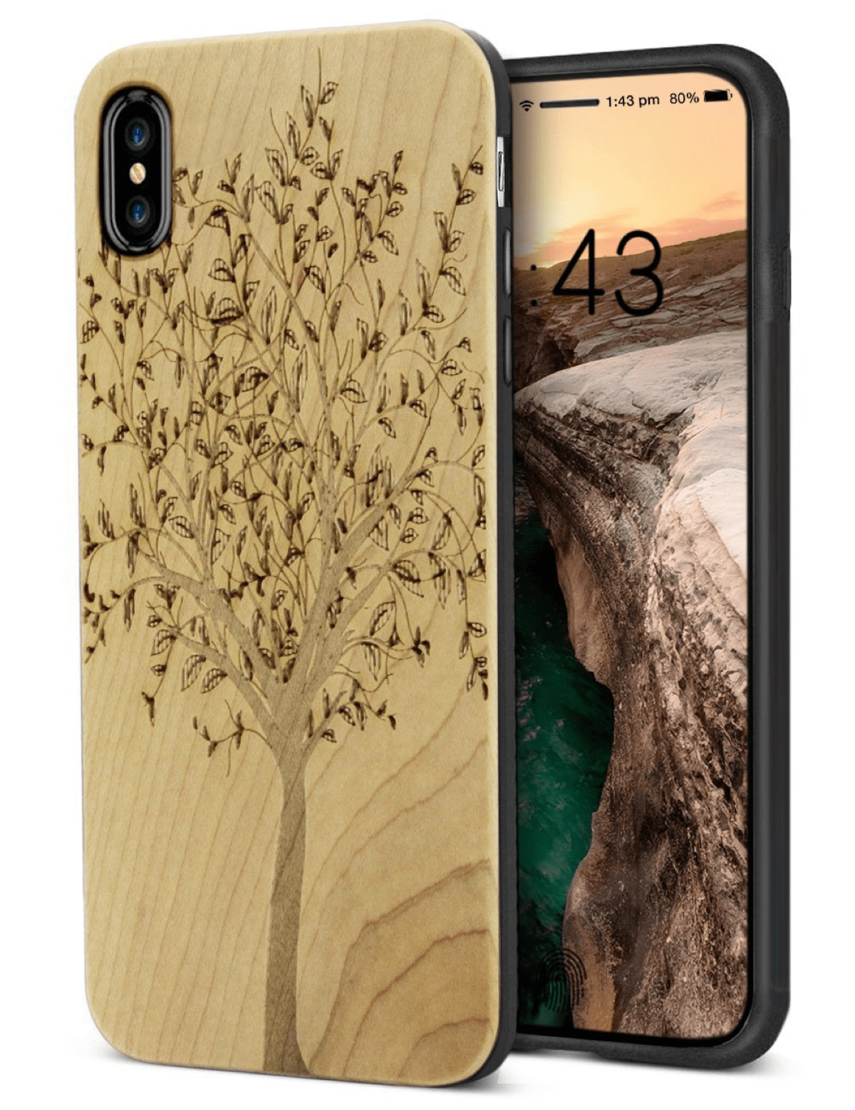 YF-wood wooden carving iPhone X bling cases.