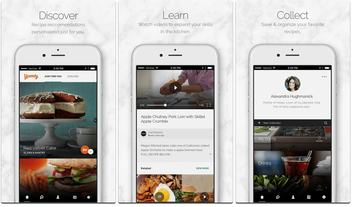 Screenshots of Yummly, one of the cooking apps.