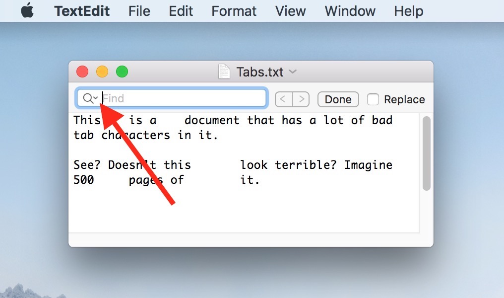 Find Toolbar in a TextEdit document window