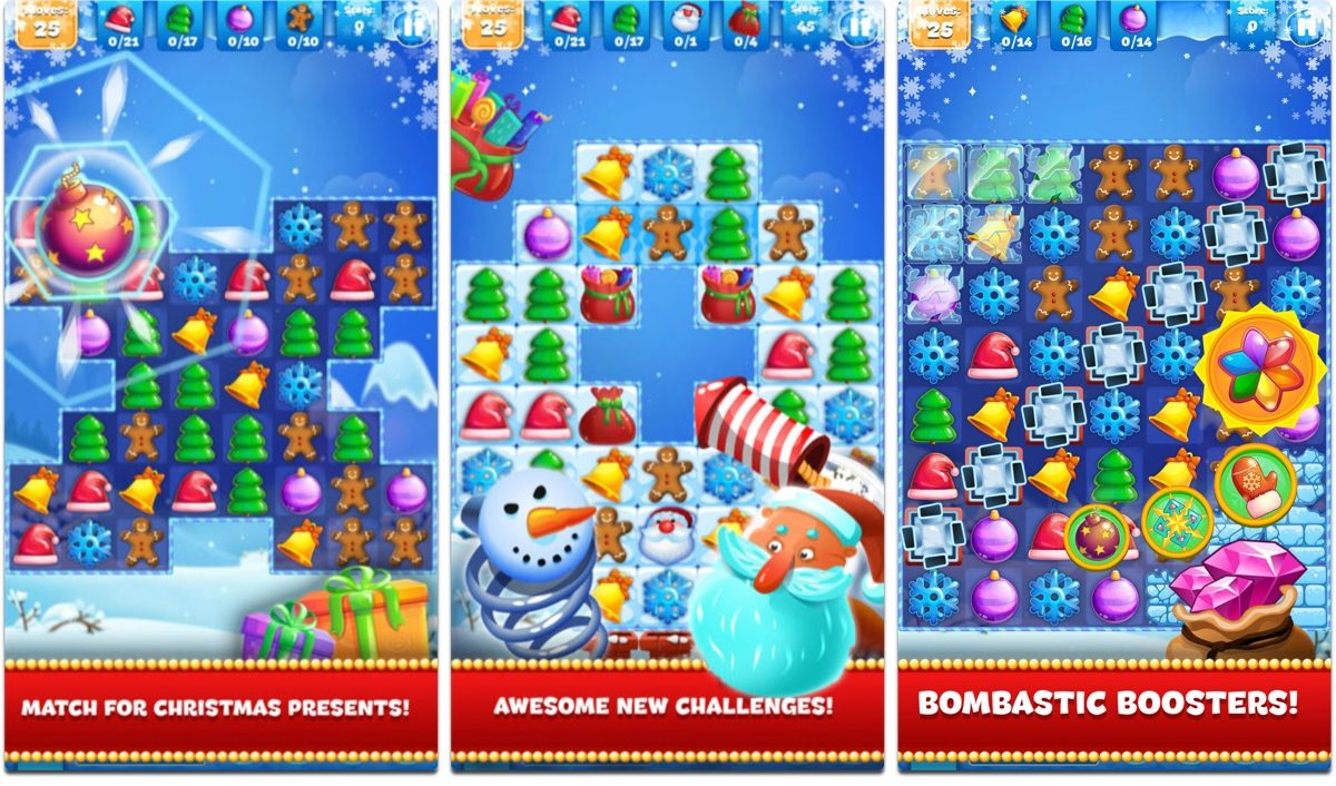 Screenshots of Christmas Sweeper 3, one of our holiday games.