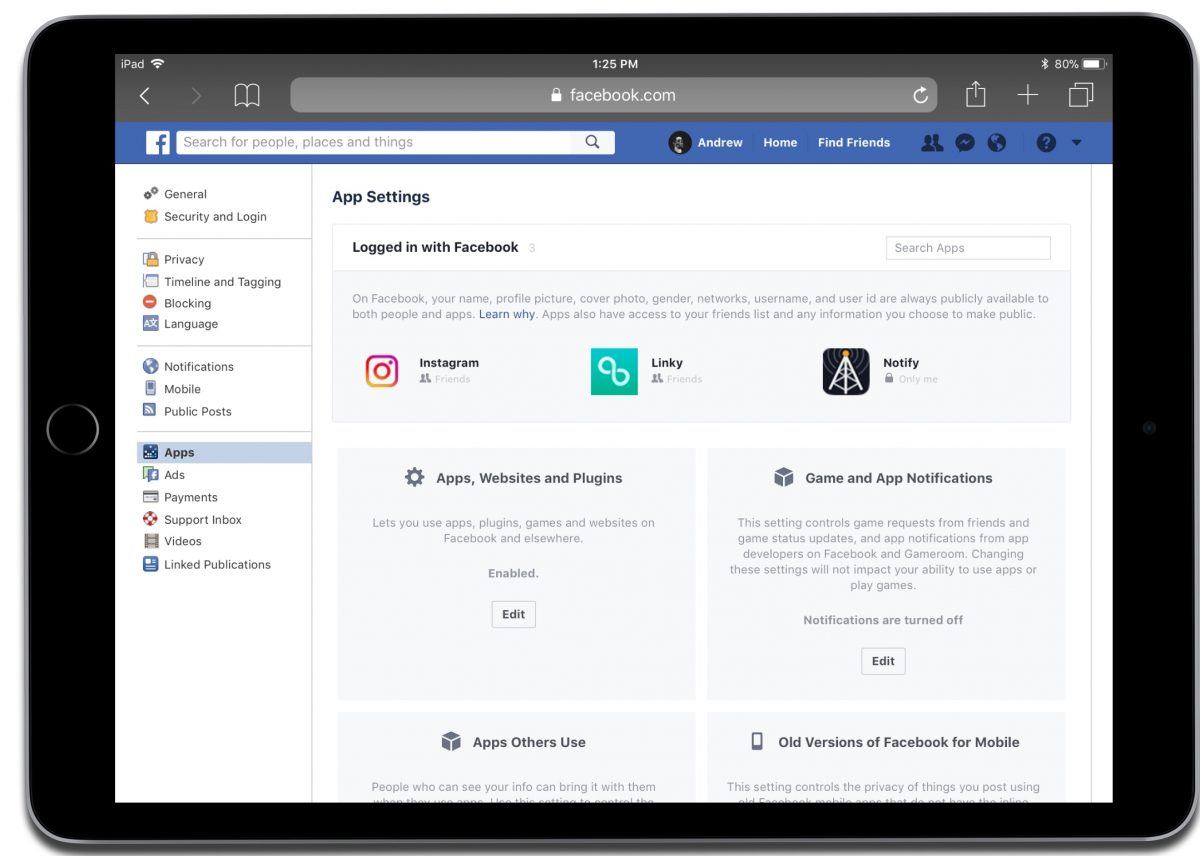 Deathorize Facebook apps in settings.