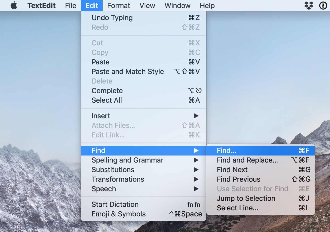 Add the Find bar to TextEdit's document window from the Edit Menu