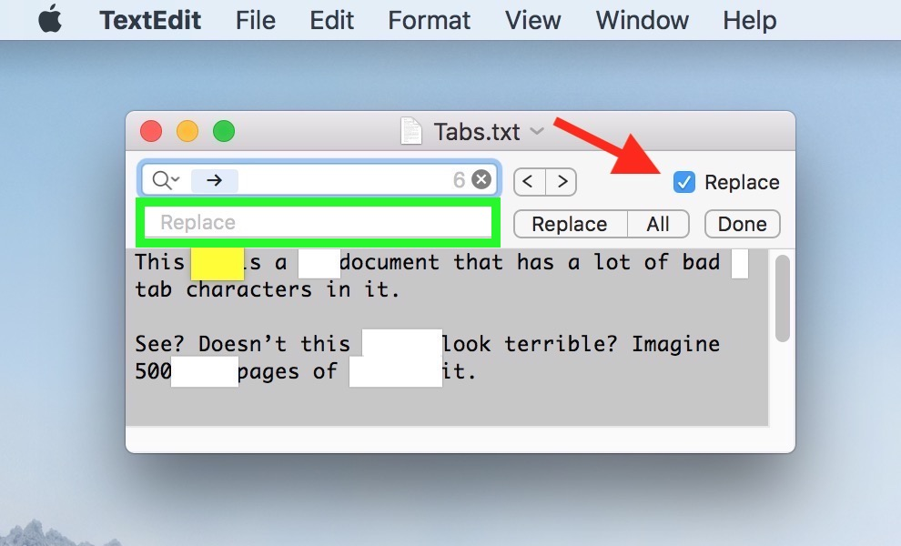 Find toolbar Replace Checkbox lets you search and replace content in TextEdit documents