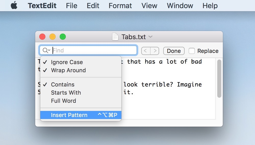 Drop-Down within Find Toolbar showing Insert Patter option