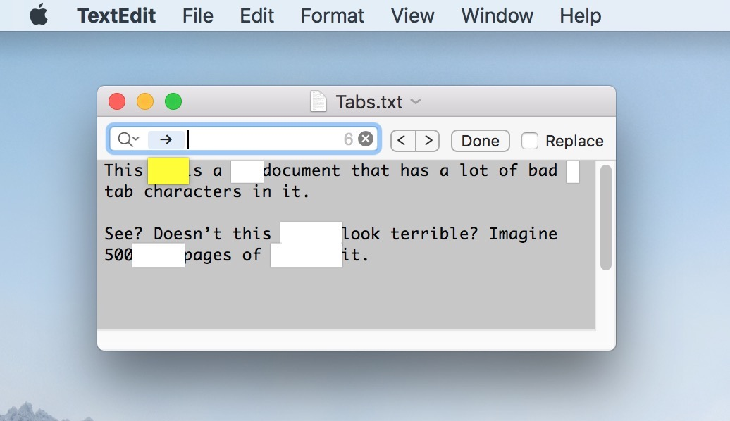 TextEdit Found Tab Characters using the Insert Pattern option for a search