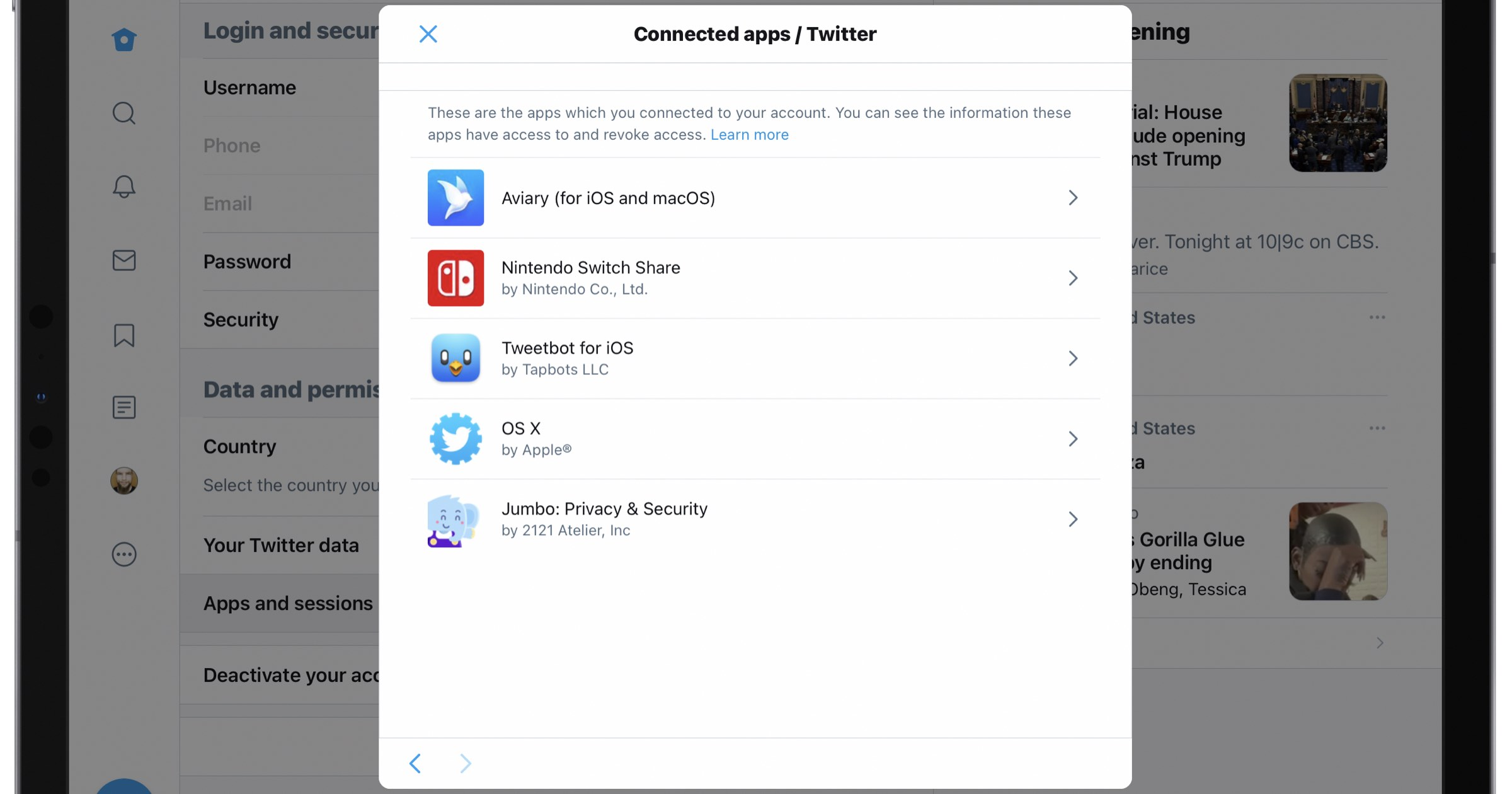 List of connected twitter apps