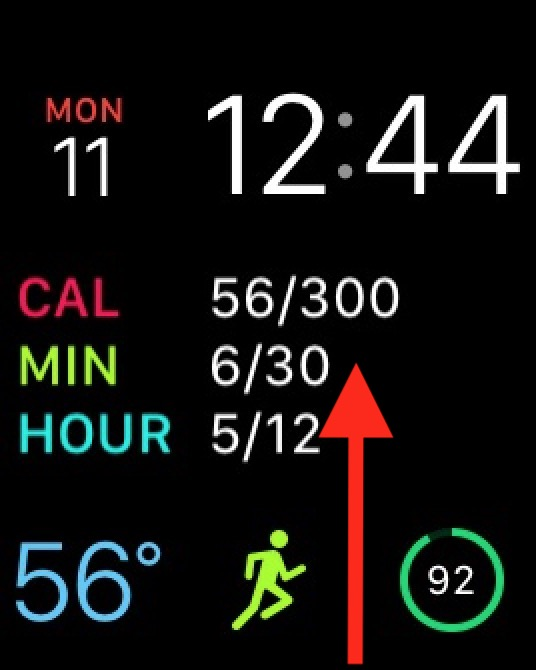 Swipe up on the Apple Watch Face to see Control Center