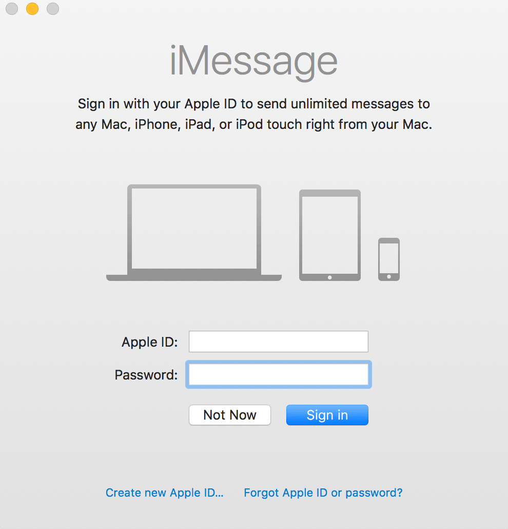 iMessage Login Window for Messages on the Mac