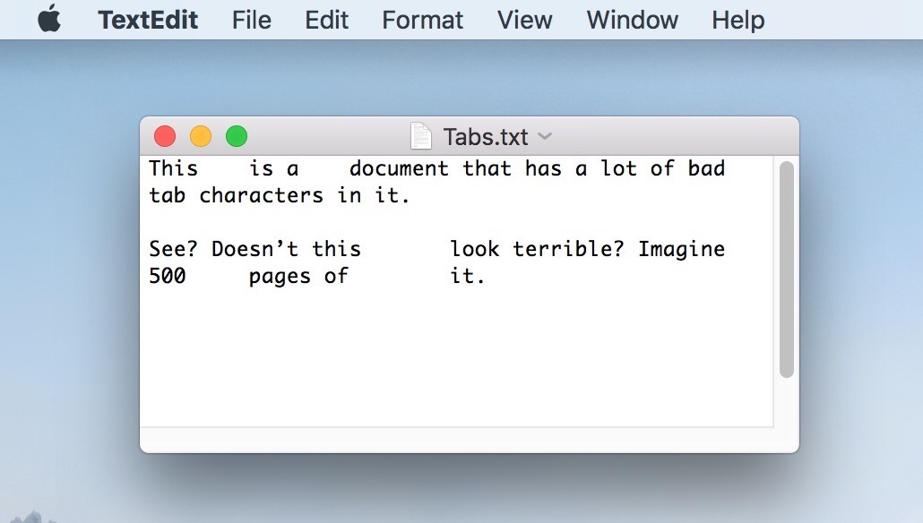 TextEdit Document with Tabs that need to be found and removed