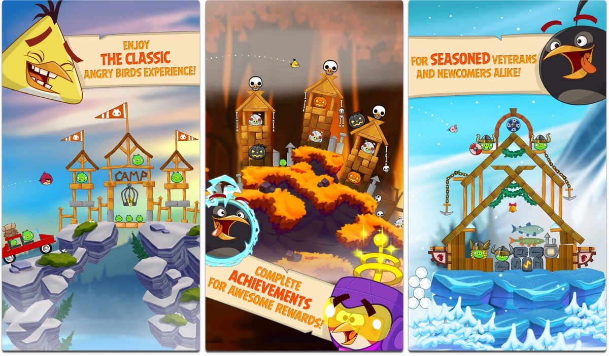 Screenshots of Angry Birds Seasons, one of our holiday games.