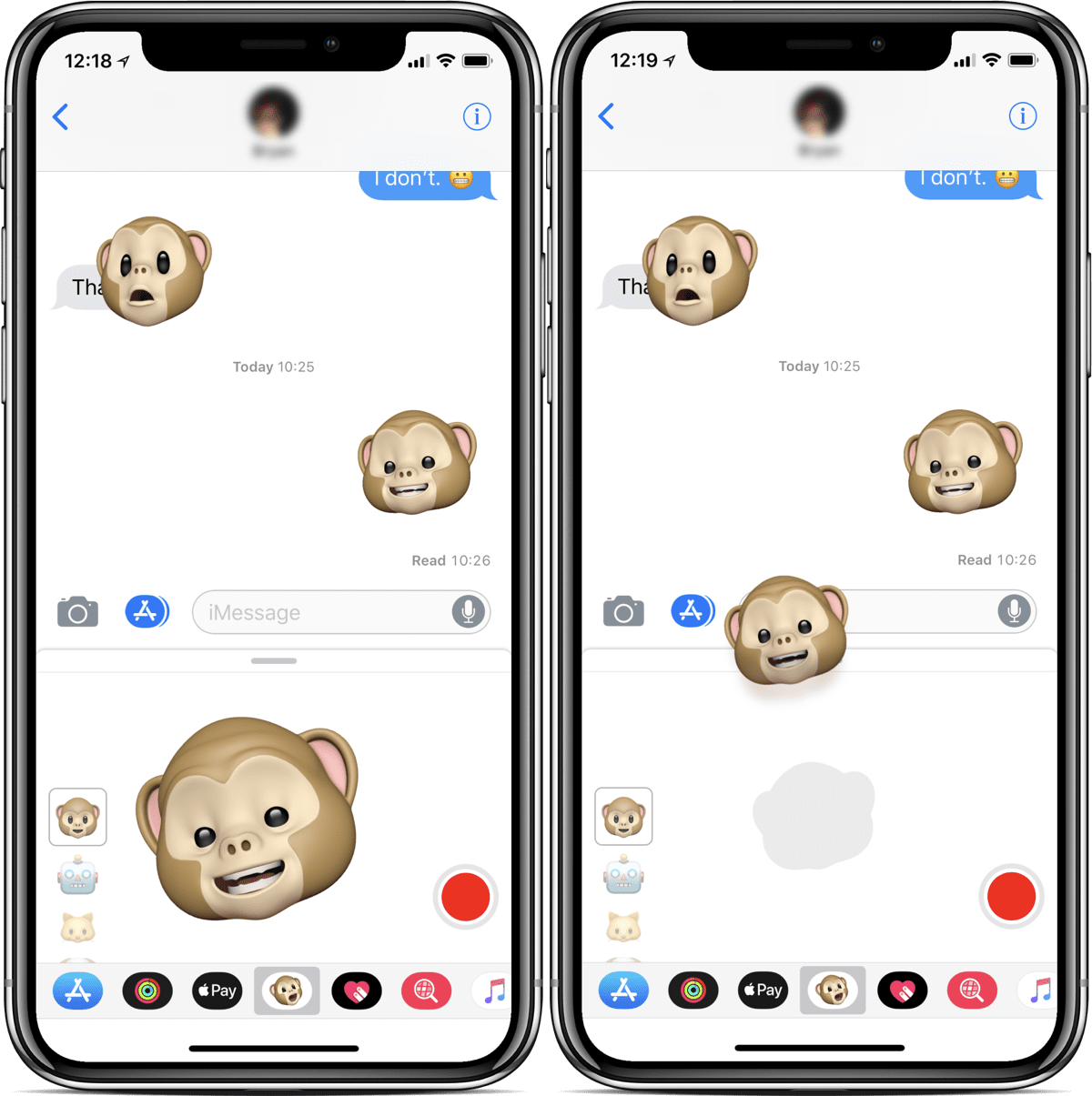 Screenshots of Animoji stickers you can send to friends.